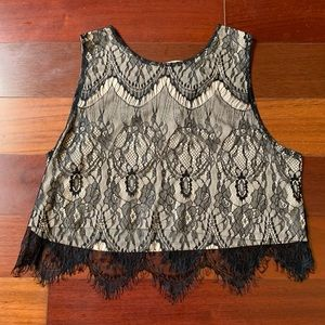 Express black and nude lace crop top